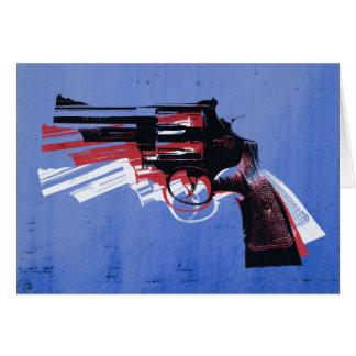 Revólver en azul tarjeta de felicitación