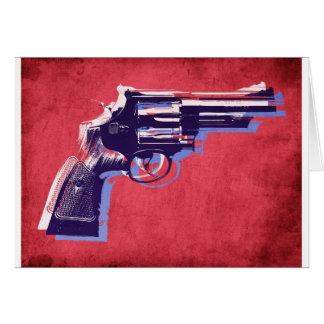 Revólver en rojo tarjeta de felicitación
