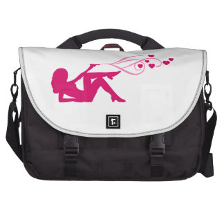 revolver girl shooting hearts laptop commuter bag