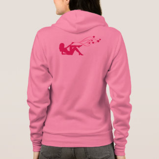 revolver girl shooting pink hearts hoodie