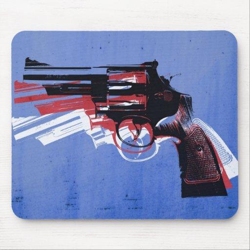 Revolver on Blue Mousemat