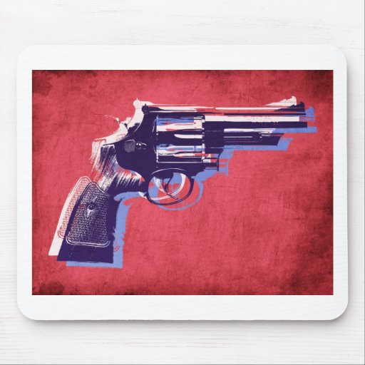 Revolver on Red Mousepads