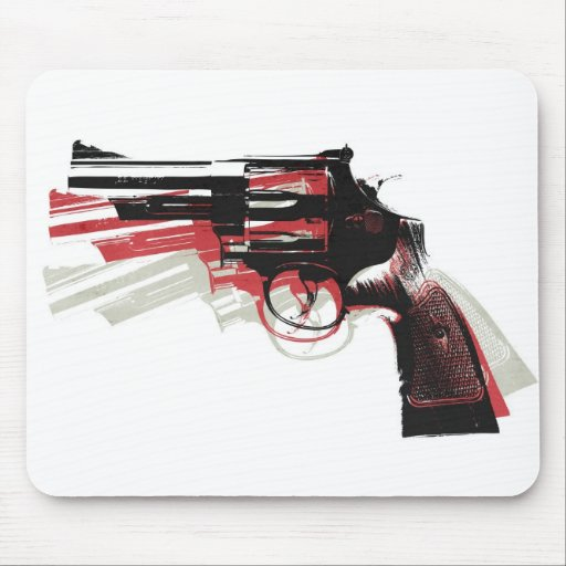 Revolver on White Mouse Pad