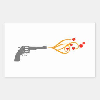 revolver shoots hearts rectangular sticker