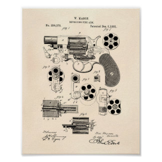 Revolving Fire Arm 1881 Patent Art - Old Peper Poster