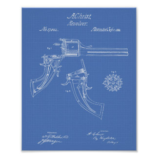 Revolving fire arms 1866 Patent Art - Blueprint Poster