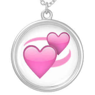 Revolving Hearts - Emoji Silver Plated Necklace