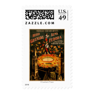 Revolving Pyrotechnic Fountain High Wire Postage Stamps