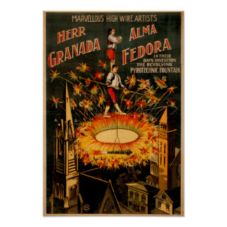 Revolving Pyrotechnic Fountain High Wire Poster