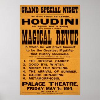 Revue mágica de Houdini, 1914 Póster