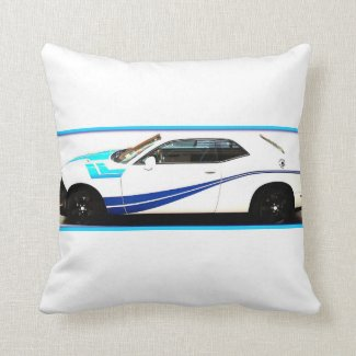 Revved In Blue Throw Pillow