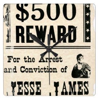 Reward for Jesse James Square Wall Clock