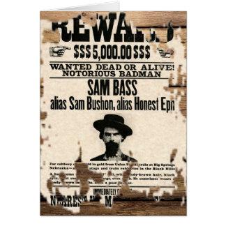 Reward for Sam Bass Card