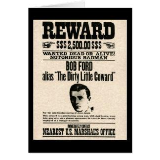 Reward Poster BOB FORD Card