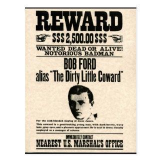 Reward Poster BOB FORD Postcard