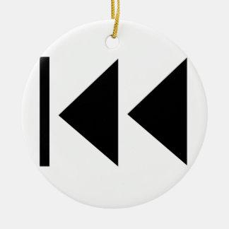 Rewind Button Ceramic Ornament