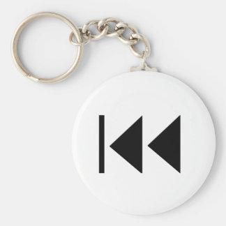 Rewind Button Basic Round Button Keychain