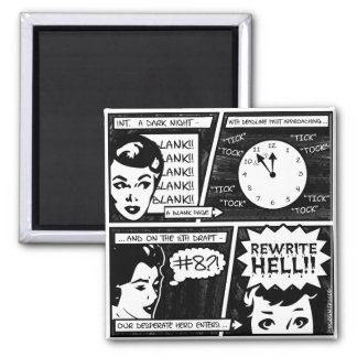 Rewrite Hell Comic Strip 2 Inch Square Magnet