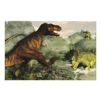 Rex del Tyrannosaurus que lucha contra Papelería Personalizada