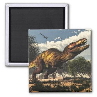 Rex del Tyrannosaurus y sus huevos Imán Cuadrado