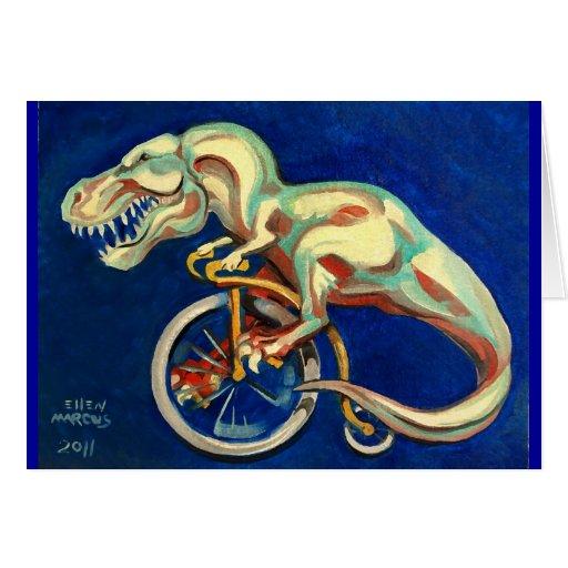 Rex en una bicicleta tarjeta de felicitación