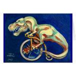 Rex en una bicicleta tarjetón