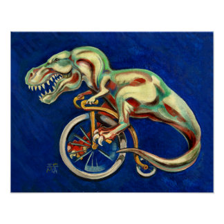 Rex on a Bicycle Poster