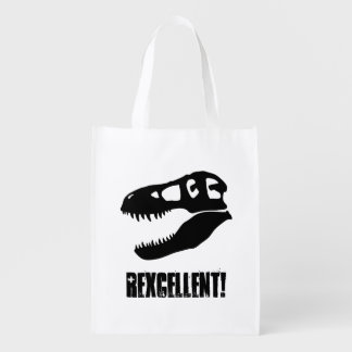 """Rexcellent!"" T-Rex Skull (2-sided) Grocery Bag"