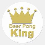 Rey #2 de Pong de la cerveza Etiqueta Redonda