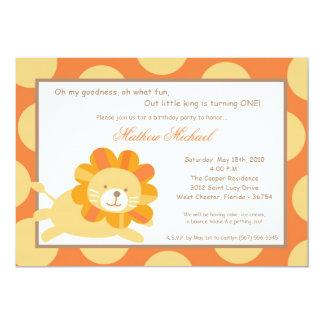 rey 5x7 de la invitación del cumpleaños del león