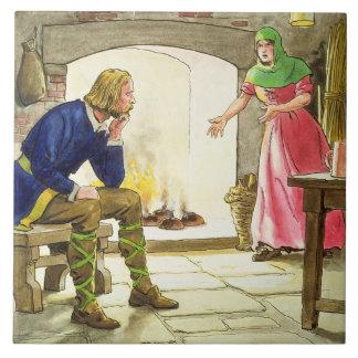 Rey Alfred (849-99) que quema las tortas, del 'pío Azulejo Cuadrado Grande