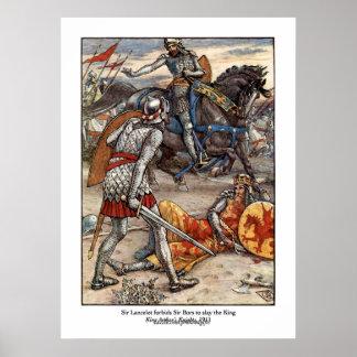 Rey Arturo del vintage y sir Lancelot Art Poster