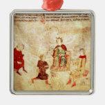 Rey Arturo en su trono rodeado Adorno De Navidad