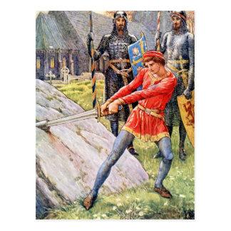 Rey Arturo extrae la espada de la piedra Postal