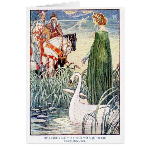 Rey Arturo y la señora del lago Tarjetón