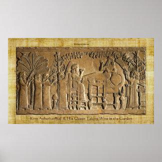 Rey asirio Ashurbanipal Historic Art Poster