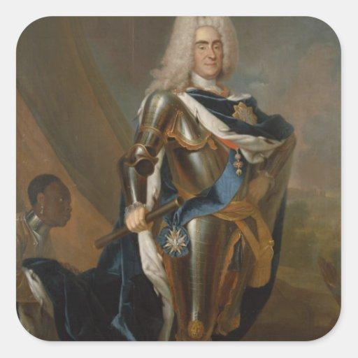 Rey Augustus II de Polonia, antes de 1730 Calcomania Cuadradas Personalizadas