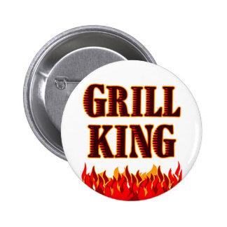 Rey BBQ de la parrilla que dice el botón Pin Redondo De 2 Pulgadas