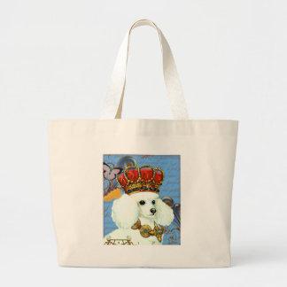 Rey blanco del caniche en corona bolsa tela grande
