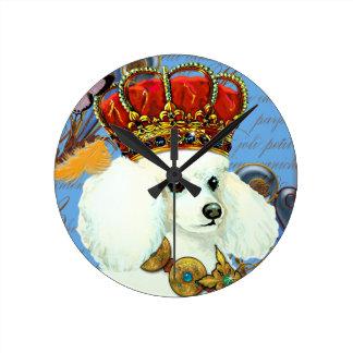 Rey blanco Painting Dress del caniche para arriba Reloj De Pared