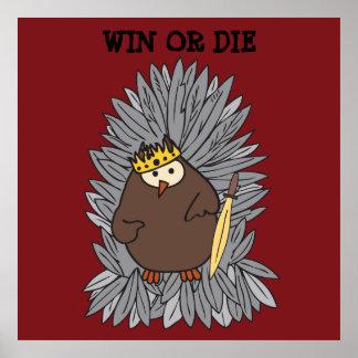 Rey bruto conseguido del búho de pitido póster