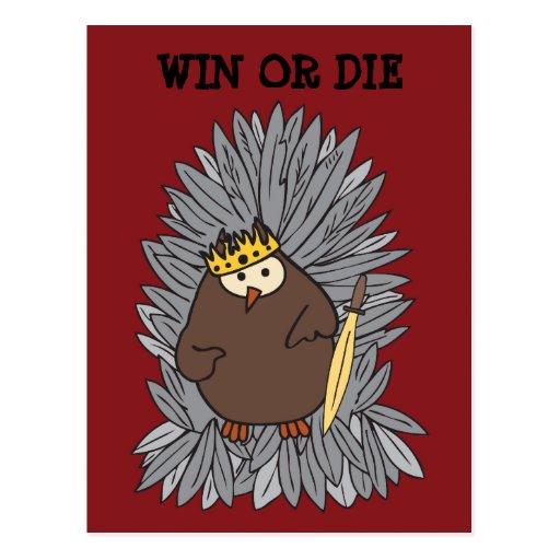 Rey bruto conseguido del búho de pitido tarjeta postal