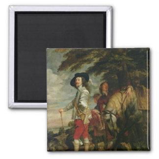 Rey Charles I de Inglaterra hacia fuera que caza,  Imán Cuadrado