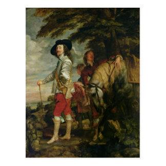 Rey Charles I de Inglaterra hacia fuera que caza, Postal