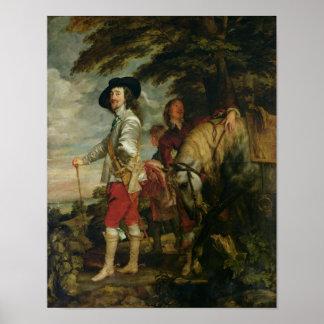 Rey Charles I de Inglaterra hacia fuera que caza,  Póster