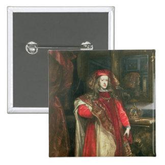 Rey Charles II de España Pin Cuadrado