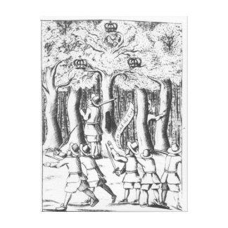 Rey Charles II que oculta en un roble Impresión En Lienzo