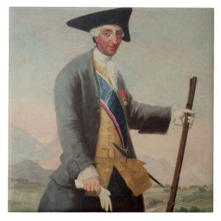 Rey Charles III (1716-88) como Huntsman, 1786/88 Azulejo Cuadrado Grande