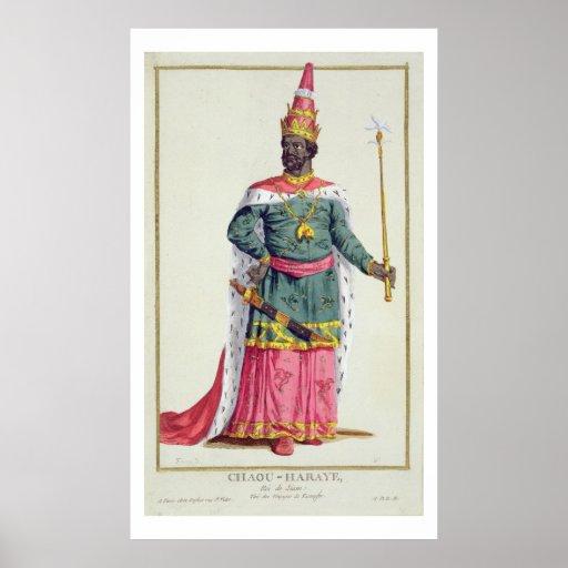 Rey Chau-Haraye de Tailandia de 'DES Estampe de Re Póster