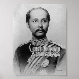 Rey Chulalongkorn Rama V de Tailandia Póster